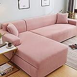 L.TSA Fundas elásticas para sofá Funda de Tela, para Sala de Estar Fundas elásticas seccionales Protector de sillón en Forma de L-2_145-185cm, Protector de sofá con Correa elástica Ajustable