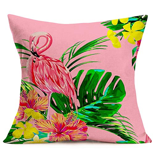 "Asminifor Summer Pink Flamingo Throw Pillow Covers Cushion Case Decorative Watercolor Tropical Palm Leaves Colorful Flowers Cotton Linen Pillowcase Home Sofa Chair Cushion Cover 18""x18"" (SP-Flamingo)"