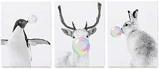 Gronda Nursery Animal Wall Art Funny Animal Bubble Gum Art Paintings Modern Canvas Picture 3-Panels Framed Artwork for Kids Baby's Room Bedroom Bathroom 12x16 Inch.
