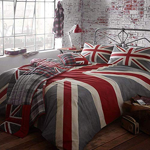 Nimsay Home Union Jack Soft 100% Cotton Duvet Cover Set - Grey, Super King