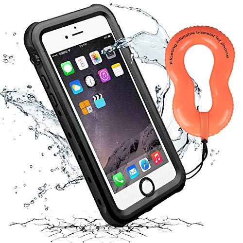 iThrough iPhone 6 Waterproof Case with Floating Strap, Upgraded Shockproof Dropproof Full Body Protective Case Built in Screen Protector, Heavy Duty Underwater Case Cover for iPhone 6/6S (Black)