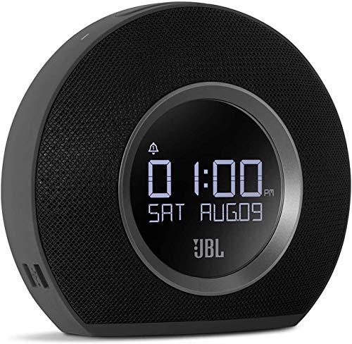 JBL Horizon Bluetooth Alarm Clock Radio with Multi Alarm, Gentle Waking Ambient LED Light, Auto LCD Display and Dual USB Charging (Black, Horizon AM Radio) (Renewed)