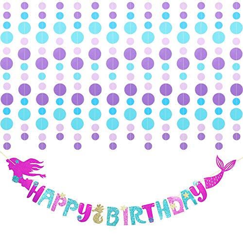 Mermaid Happy Birthday Banner Glitter Mermaid Party Supplies Decorations with Circle Dot Garland Hanging Under The Sea Mermaid Theme Birthday Party Decor
