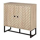 Buffet meuble de rangement 2 portes bois et pieds en métal noir dim. 80L x 29,5l x 80H cm