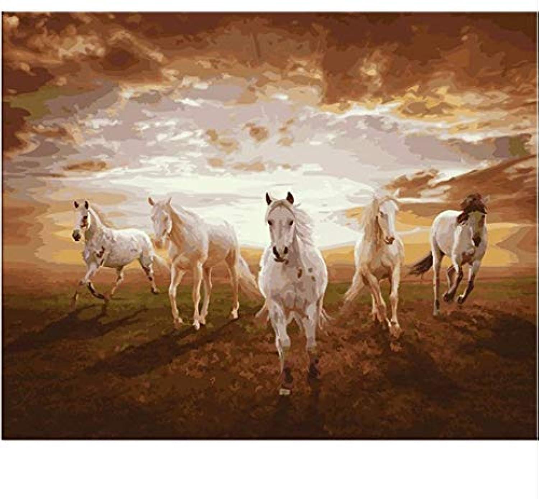 WGXCC DIY Digital Painting Running Horse DIY Malen nach Zahlen Malen auf Leinwand Kits Zeichnung Malen nach Zahlen für Wohnzimmer Hauptwanddekor Frameless B07KF8TG2Z | Online Shop
