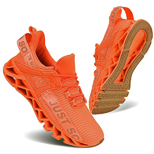 Laufschuhe für Frauen Leichte Tennis-Sport-Luftkissen-beiläufige athletische gehende Schuhe,39 EU,Orange 1