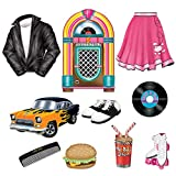 Beistle 54153 Assorted 50's Decorating Cutouts-10 Pcs, Multicolored