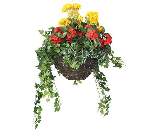 Closer to Nature (I-adempimento) HBK M23 Red Begonia / Geranio giallo / verde della vite e variegato edera Display in un Round Willow 12 pollici Hanging Basket artificiale Bedding Plug Impianti e Display Selezione