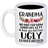 MyCozyCups Gift For Grandma - At Least You Dont Have Ugly Grandchildren Coffee Mug - Funny 11oz Cup For Grandmothers, Mimi, Nana From Granddaughter, Grandson - Mothers Day, Birthday, Christmas Gift