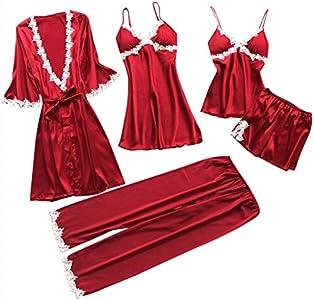 TIFIY Sexy Conjuntos Cinco Vestido Mujer Erótico Lace Talla Grande Lenceria Babydoll Interior Ropa de Dormir Floral de Encaje Cuello en V Camisión Pijama (Rojo,XXXL)