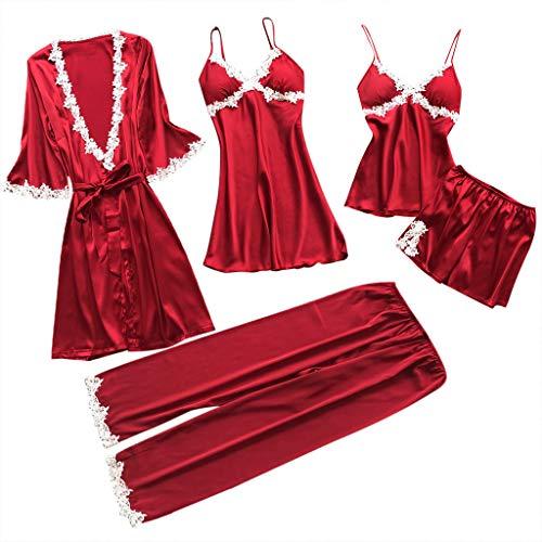 Proumy Conjunto de Pijamas Mujer 5 Piezas Kimono Larga Pijama de Encaje Verano Batas con Calzoncillos Cortos Ropa de Dormir con Pantalones Largos Traje Talla Grande Lencería Erótica Roja