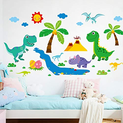 PotteLove Cartoon Dinosaur Animals Wall Stickers Vinyl DIY Mural Peel and Stick Wall Decals for House Kids Room Baby Bedroom Decoration