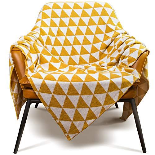 MYLUNE HOME Plaid en Coton de 130x160cm, Couverture Scandinave Pafait pour Canapé/Table/Lit/Voiture/Pique-niqueur - Jaune