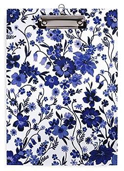 Vera Bradley Blue/White Floral Plastic Clipboard for Letter Size Paper Moonlight Garden Tonal