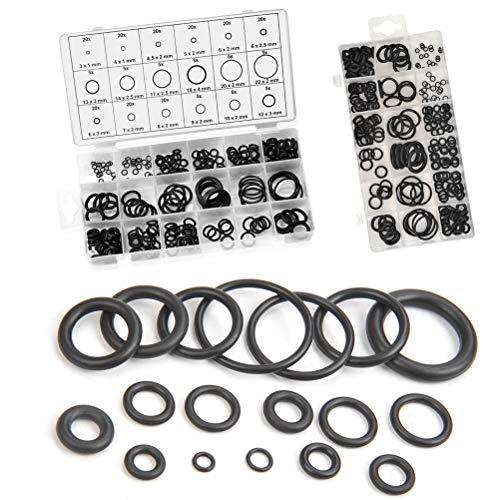 MEESOGA O Ringe Sortiment - 225Pack O-Ring Set aus NBR-Gummi, 3-22mm Gummi Dichtungsringe Set mit 18 Verschiedene Größen in Sortimentsbox (Schwarz)