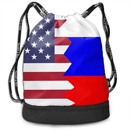 wwoman Mochila con cordón Bolsa Americana Rusia Hombres y Mujeres Home Viajes Compras Bolsas de Hombro