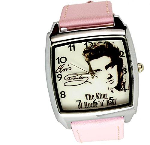 taport® Elvis Presley Quarz Square Armbanduhr Pink Echt Leder Band + Gratis Ersatz Batterie + Gratis Geschenkverpackung