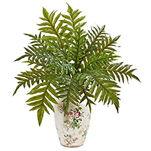 """Silk Flower Arrangements Nearly Natural 25"""" Hares Foot Fern Artificial Decorative Vase (Real Touch) Silk Plants, Green"""