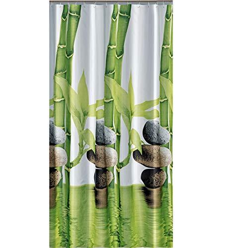 """EDLER Textil Duschvorhang 120 x 200 cm """"Bambus mit Stein"""" Grün Weiß inkl.Ringe"""