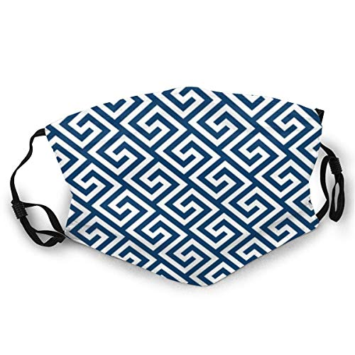 Unisex Washable and Reusable Face_Mask,Soft Cotton Cloth Material Printed Face Protection,Cushion Greek Key Pattern