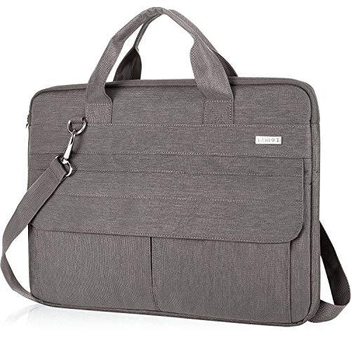 Landici 360 Protective 14-15.6 inch Laptop Bag Sleeve with Shoulder Strap, Waterproof Computer Case Cover Compatible with MacBook Pro 16, Surface Book 3, XPS 15, Asus Acer Hp Chormebook-Khaki Grey
