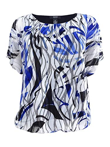 Alfani Womens Petites Textured Printed Pullover Top Blue PL