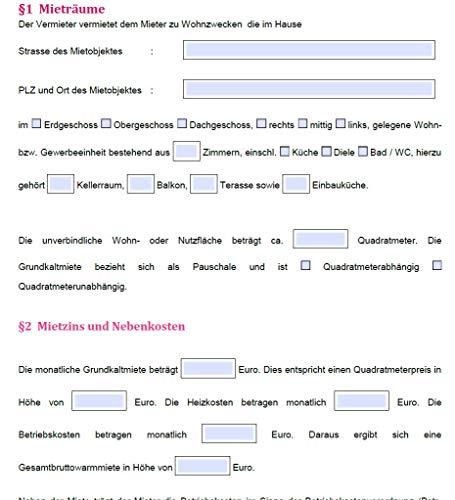 PRIXUS: Vermieter- Formulare zum Download als ausfüllbare PDF Formulare (Mietvertrag)