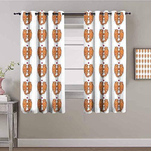 Nileco Cortinas Opacas Termicas - Simple cariñoso lindo animal - 160x115 cm - Cortinas del Dormitorio de la Habitación de los Niños - 3D Impresión Digital con Ojales Aislamiento Térmico