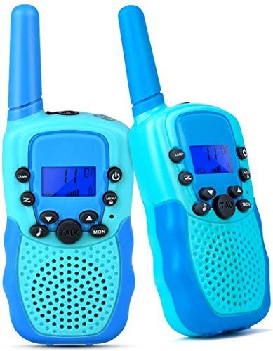 Funkprofi Walkie Talkies für Kinder, T-388 Funkgeräte für Kids ab 3 Jahre PMR 446 Reichweite bis zu 3 km 8 Kanäle für Einkaufen, Freizeitpark, Zelten, Shopping, Indoor – 2 Stück Hellblau