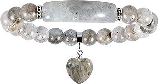 Yatming Handmade Stone Stretch Bracelet with Crystal Heart, 8mm Reiki Healing Energy Balancing Meditation Yoga Beads Charm...