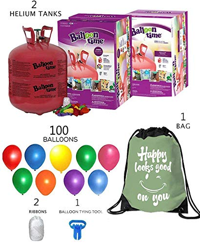 Balloon Time Disposable Helium Tank 14.9 (2 Boxes) - 100 Latex Party Balloons – Plus Drawstring Backpack Bag