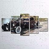 GHTAWXJ Leinwand Gedruckt Bilder Wandkunst 5 Stücke Hd Alte Oldtimer Gemälde Dekoration Poster Flur Rahmen