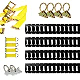 DC Cargo Mall E Track Tie-Down Kit - 16 Pieces: 5 ft Black E-Track Rails & E Track Tie-Down Accessories