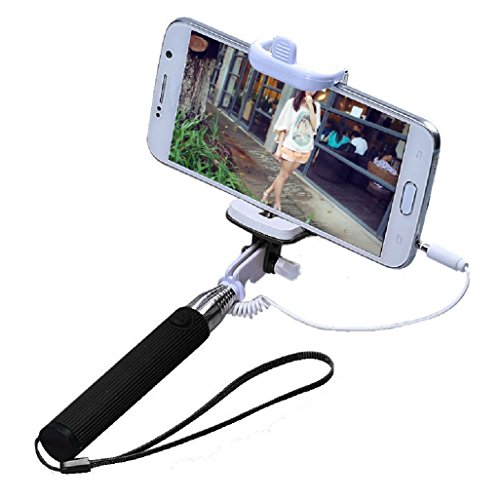 Selfie stick, Selfie stick tonsee ® estensibile integrato-Asta monopiede con cavo incorporato Telecomando per scatto remoto per fotocamera, Bluetooth e carica, non richiede di utilizzare più] [] e supporto smartphone regolabile, per iPhone, Samsung e altri smartphone IOS e Android