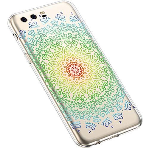 Uposao Huawei P10 Plus Coque Silicone Transparente Motif Mandala Fleur Coloré Jolie Beau Housse de téléphone Semi Hybrid Crystal Case Antichoc Coque Housse Étui pour Huawei P10 Plus,#2