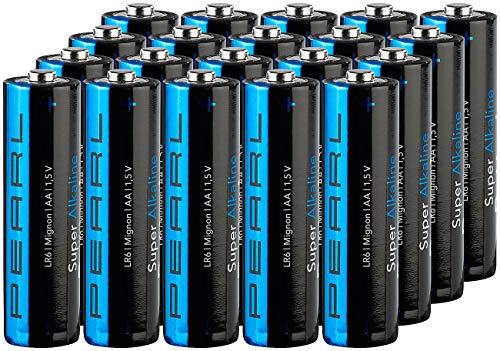 PEARL Batterien R6: Super-Alkaline-Batterien Mignon 1,5V Typ AA, 20 Stück (1 5 Volt Batterie)