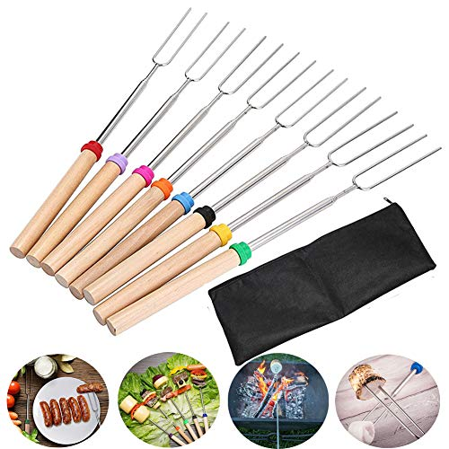 Barbecue Forks,8pcs Marshmallow Roasting Sticks 11.8inch-32inch Hot Dog Forks Telescoping Sausage Forks 360° Rotating Wooden Handle BBQ Skewers Sticks For Fire Pit, Campfire, Bonfire And Grill