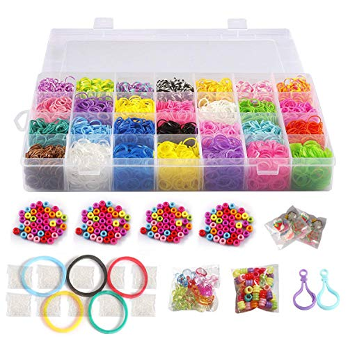 10,000 Rubber Bands Refill Pack Colorful Loom Kit Organizer for Kids Bracelet Weaving DIY Crafting with Crystal-Like Charms,500 S-Clips,Mini Hook and 175 Beads (Xmas Present Set in Rainbow Color)