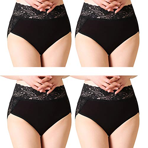 Serecofo Lot de 4 Culottes Slips Femme Taille Haute en Dentelle sous-Vêtements Femme Lingerie Ultra Elastique et Confortable (FR 40-44: Tour de Taille 78-85cm, 4 Noir)