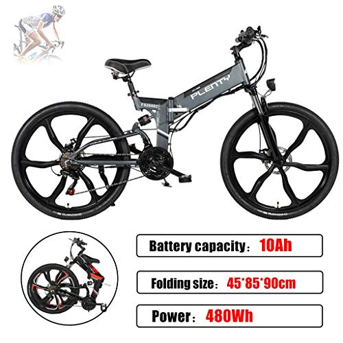 Beach Snow Electric Mountain Bike Removable 48V/12Ah Battery Integrated with Frame 7-Speed Front Suspension Tektro Dual Disc Brakes,for Sport Cycling (Color : Grey)