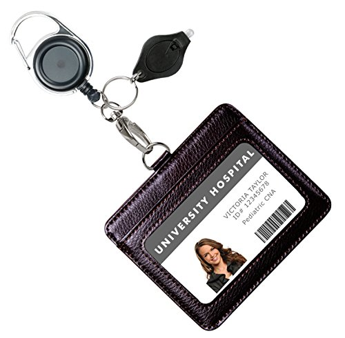 Genuine Leather ID Badge Holder with Heavy Duty Carabiner Retractable Reel, Key Ring and Metal Clip, 2 Card Pockets. Holds Multiple Cards & Keys. Key Chain Flashlight. Horizontal. Espresso Brown