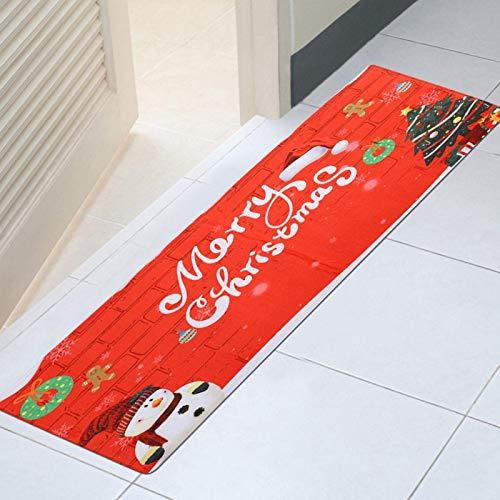 Alfombra de Puerta navideña Alfombras de Piso Santa Muñeco de Nieve Patrón Felpudo Franela Alfombras absorbentes de baño Decoración del hogar Alfombras Decorativas para la decoración del baño