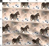 Sepia, Sterne, Pferde, Blau Stoffe - Individuell Bedruckt