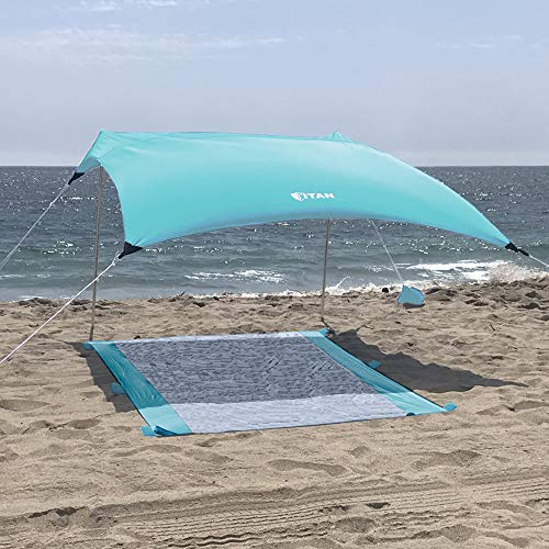 Titan Beach Canopy Sky Blue Sunshade with Sandbag Anchors and Mat - 7ft x 7ft - UPF 50+ - Tent Includes Carry Bag - Weighs 5 Pounds - Portable, Family Sun Protection for The Beach, Park or Camping