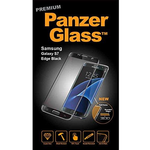 PanzerGlass PREMIUM Bildschirmschutzglas (Nahezu 100prozent abdeckend); passend für Samsung Galaxy S7 Edge, Schwarz