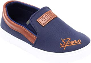 Hopscotch Yellow Bee PU Slip On Shoes for Boys - Navy