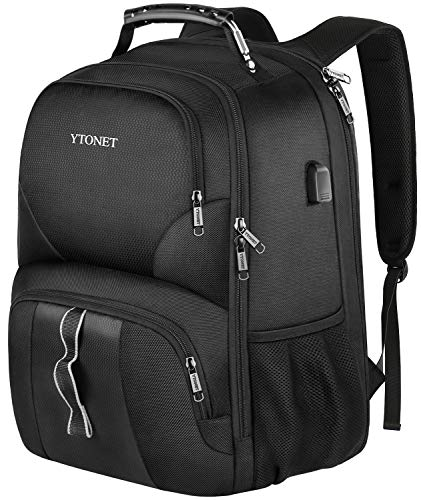 Ytonet Travel Laptop Backpack Extra Large Anti Theft TSA Friendly Water Resistant Durable Travel Backpack with USB Charging Port College School Bookbag for Men Woman Fits 17 Inch Notebook Black