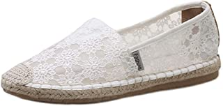 AUCDK Women Flat Espadrilles Elegant Flower Pattern Lightweight Mesh Fabric Loafers Slip On Flats for Walking Shopping