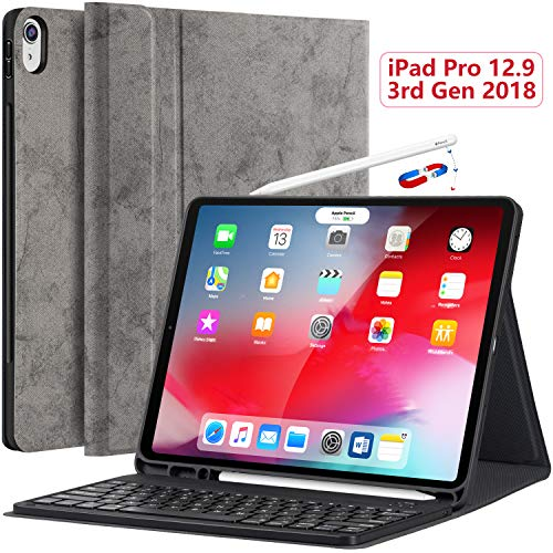 iPro 12.9 Case with Keyboard 2018-3rd Gen (Not for 2017 2nd/2015 1st) [Support Apple Pencil Charging] [with Pencil Holder] Magnetically Detachable Wireless Keyboard for iPad Pro 12.9 2018, Gray