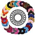 ZQISHMAO 50pcs Women's Hair Scrunchies Chiffon Flowers Elastic Hair Bands Scrunchy Hair Ties Ropes Ponytail Holder